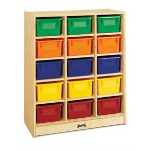 15 Cubbie-Tray Mobile Unit – with Colored Trays