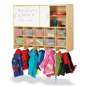 10 Section Wall Mount Coat Locker with Storage – with Clear Cubbie-Trays
