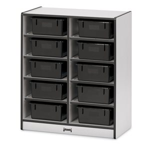 10 Tub Mobile Storage - with Tubs - Black