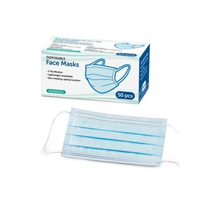 Adult-Sized Disposable Face Masks: Pack of 50